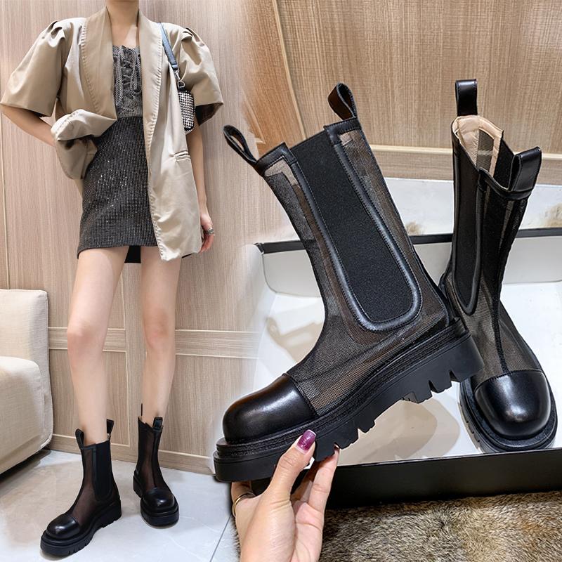 mona同款网纱短靴女春夏透气烟筒切尔西凉靴潮厚底薄款镂空马丁靴