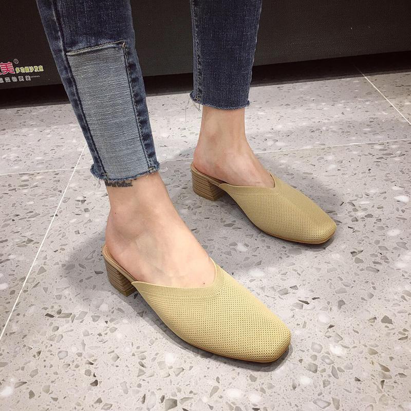 款气质款穆勒鞋韩国东大门针织V口尖头单鞋百搭高跟包头后空凉鞋