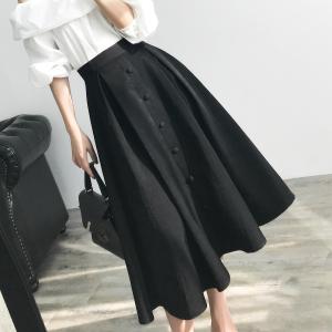 黑色半身裙女2020新款赫本风高腰大摆法式复古a字中长款蓬蓬伞裙