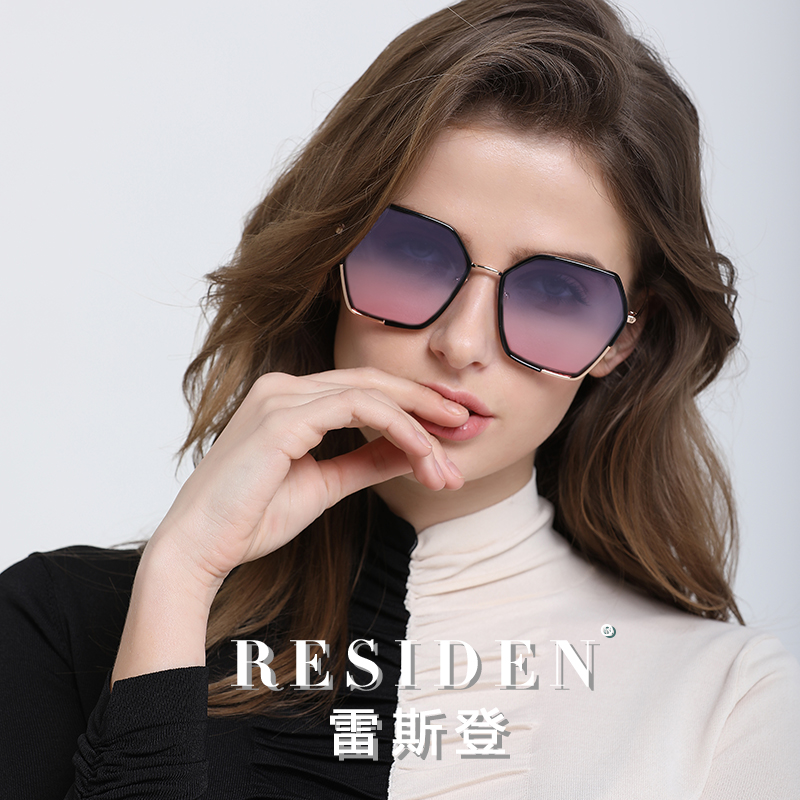New sunglasses polygonal Star color gradient round face large face Sunglasses Womens polarized ultra light small face glasses