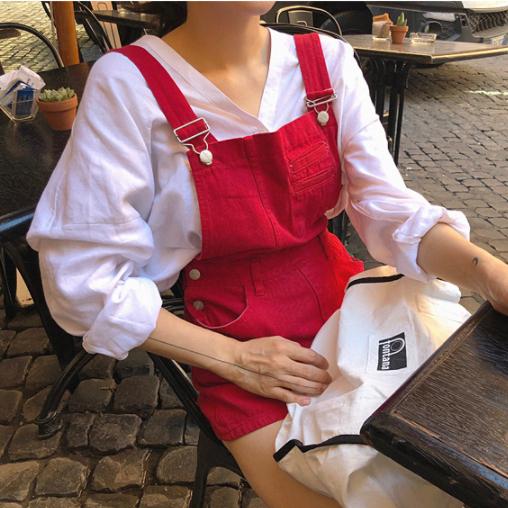韩国代购东大门2018流行女装夏装新款休闲显瘦连体背带牛仔短裤re
