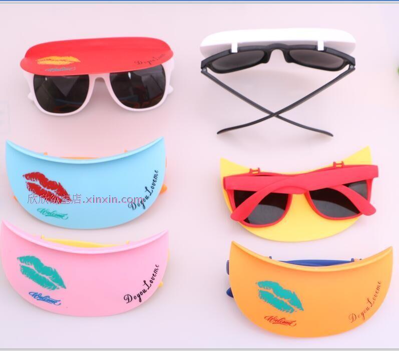 儿童折叠太阳镜 墨镜宝宝卡通演眼镜 夏天防晒帽檐眼镜