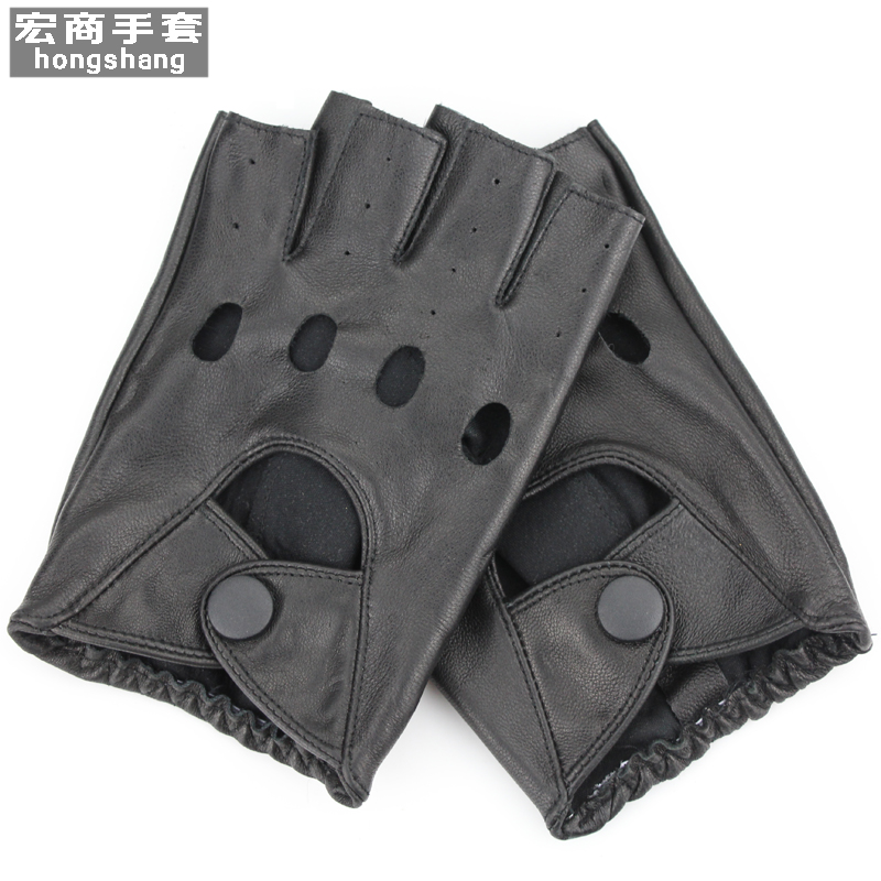 Half finger leather gloves mens sports fitness riding personality break hip hop dance performance