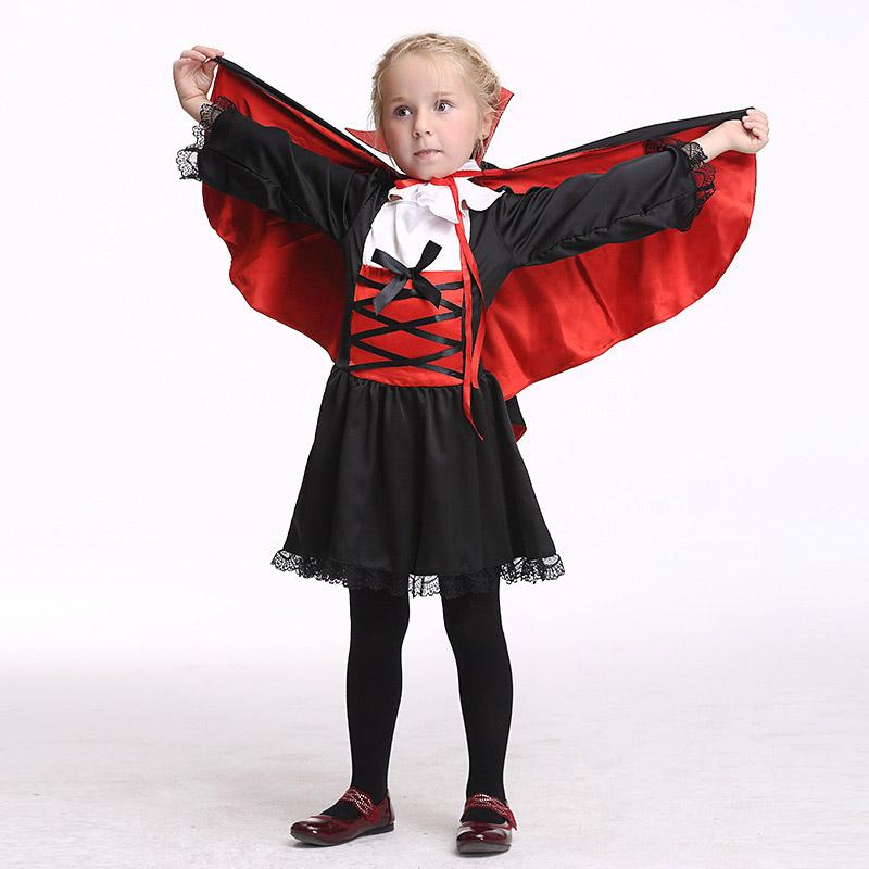 万圣节儿童表演服装cosplay女童演出服吸血鬼角色扮演披风套装