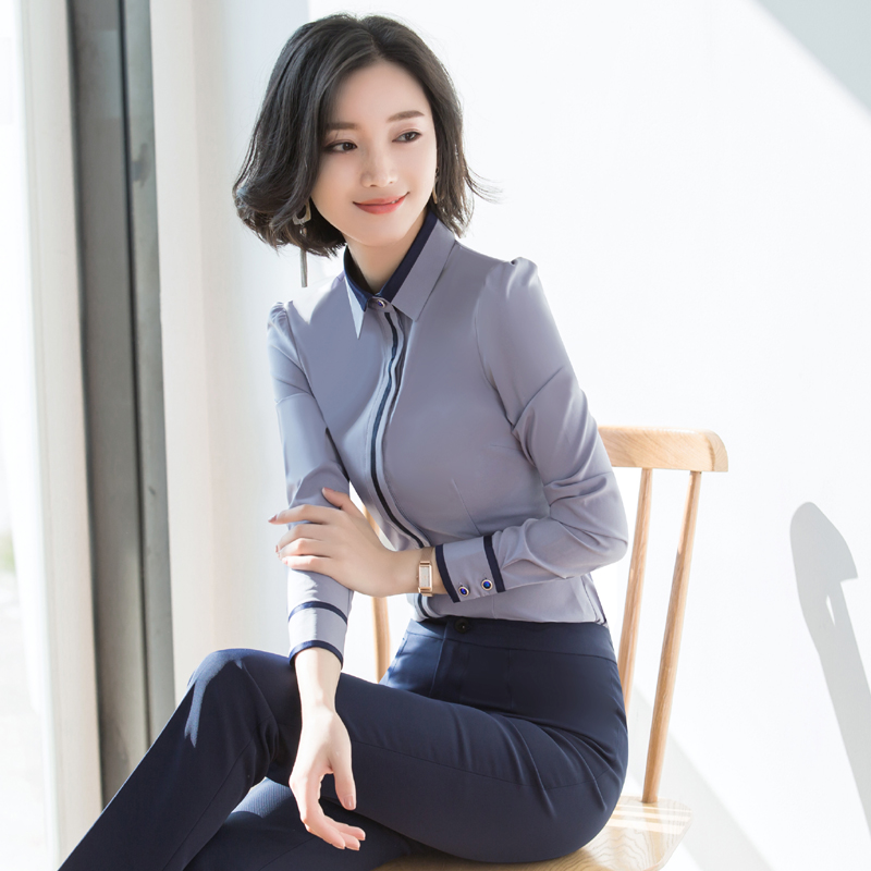 Professional white shirt womens long sleeves autumn and winter 2020 temperament formal work clothes office worker Plush shirt womens wear