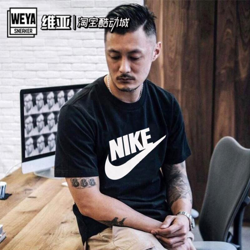 Nike耐克2020年新款男子余文乐同款黑白经典短袖T恤 AR5005-101