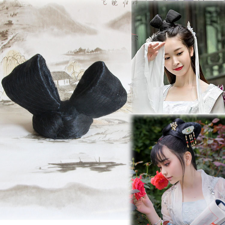 Costume modeling fake hair bun Han costume contract performance film and television wig photo studio shooting ancient style curl hair