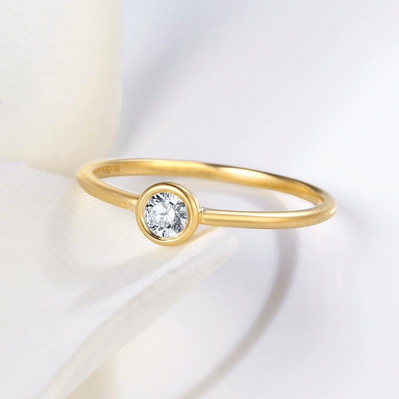 (用620.25元券)NOZBO 18k钻石戒指环 磨砂钻石戒指 单钻戒指 钻石戒指
