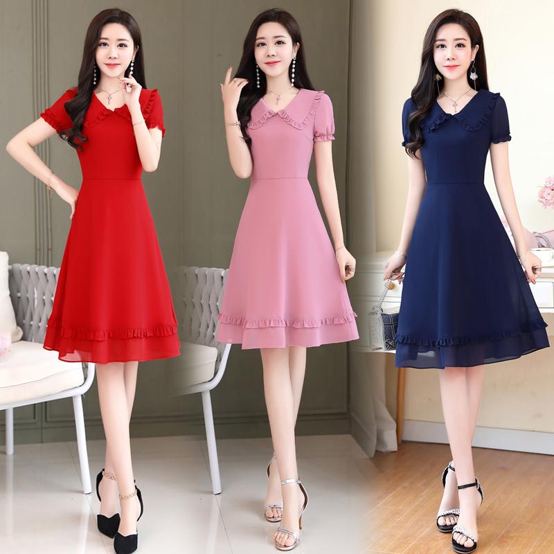 夏季珍珠雪纺连衣裙短袖纯色优雅气质女30-40-50岁收腰显瘦中长裙