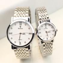日韩商务双日历罗马数字钢带情侣手表一对男女石英腕表