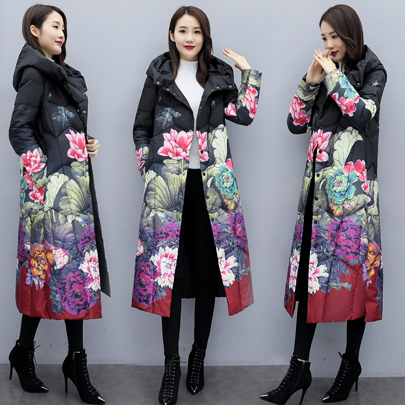 2020 new Decor down jacket womens middle and long style thickened loose slim mothers fashion over knee coat winter dress