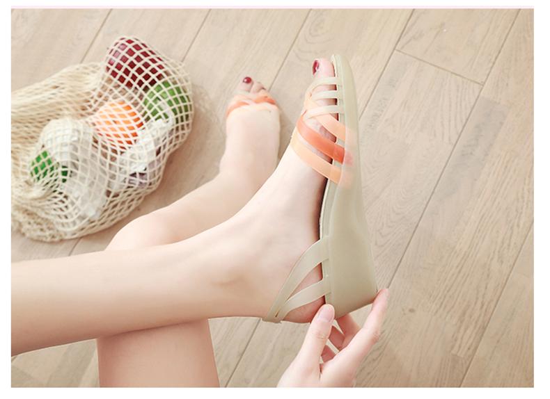 有赠品夏季新款坡跟塑料高跟防滑果冻鞋