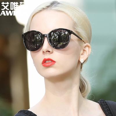 艾唯莎2018新款女士偏光太阳镜圆框时尚彩膜墨镜女潮圆脸开车眼镜