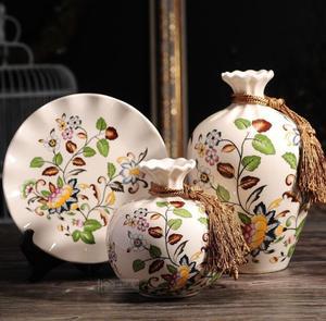 欧式高档冰裂瓷花瓶圆盘摆件陶瓷三件套客厅博物架装饰品结婚礼品