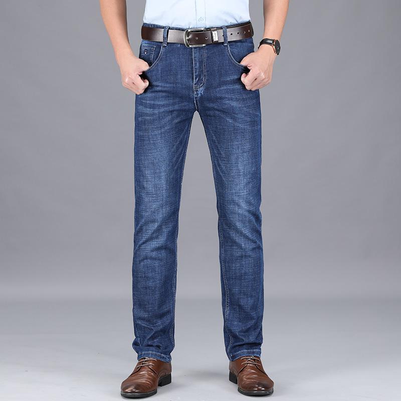 Jeans mens casual slim straight mens pants simple versatile Korean fashion pants summer thin