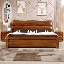 全实木床乌金木双人床1.8米婚床现代新中式气动高箱储物原木大床