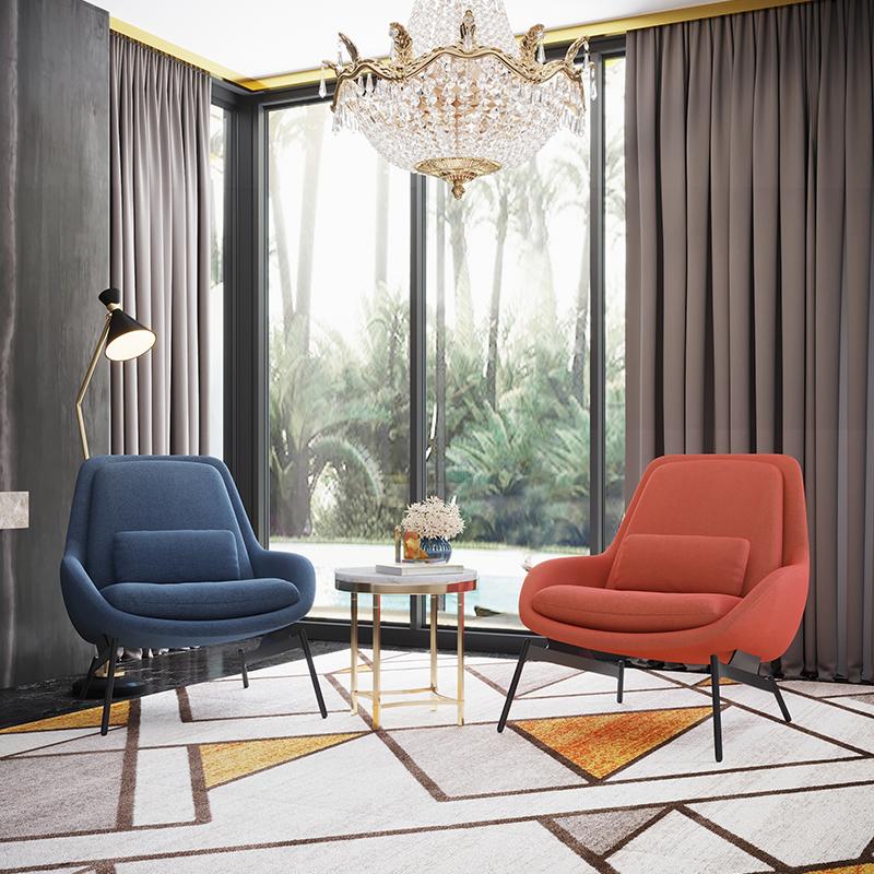 格莱亚意式客厅单人布艺沙发躺椅极简约现代轻奢设计师北欧休闲椅