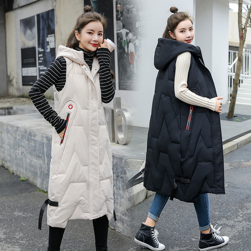 2020 new down cotton waistcoat over knee womens long vest cotton padded jacket womens Korean long shoulder coat fashion