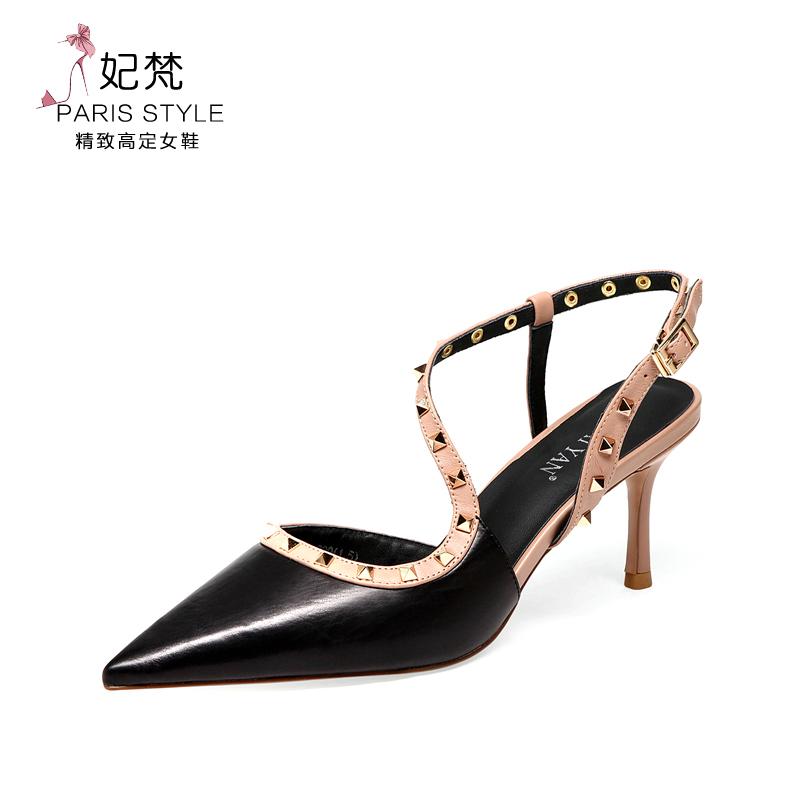 包头凉鞋女2020新款夏季百搭时尚铆钉一字带尖头高跟鞋女细跟图片