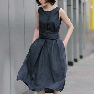 2021夏季新款亚麻料文艺休闲连衣裙子森女装收腰长裙显高显瘦气质