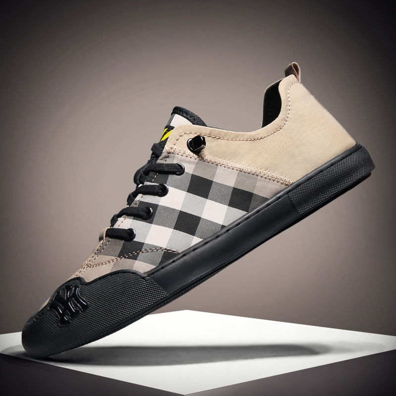 Spring stock classic Plaid big brand board shoes low top lace up flat bottom casual shoes mens shoes 2020