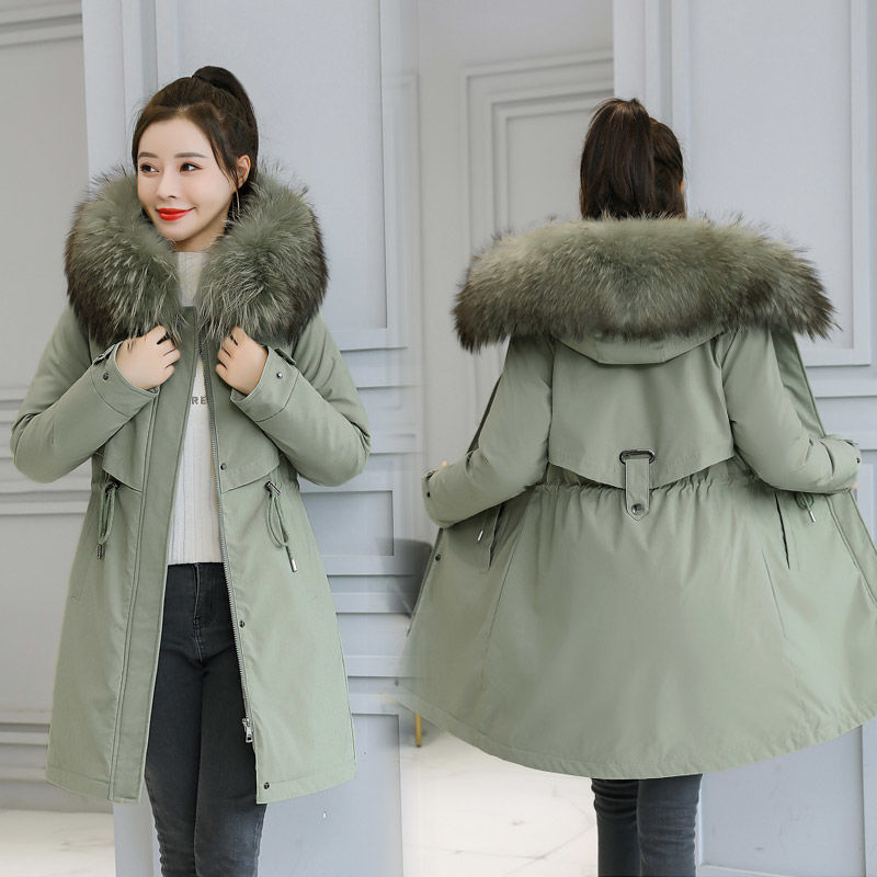 The new style of autumn and winter overcomes the problem of womens medium and long cotton clothes, large size, thickened and warm, Korean slim cotton clothes and plush coats