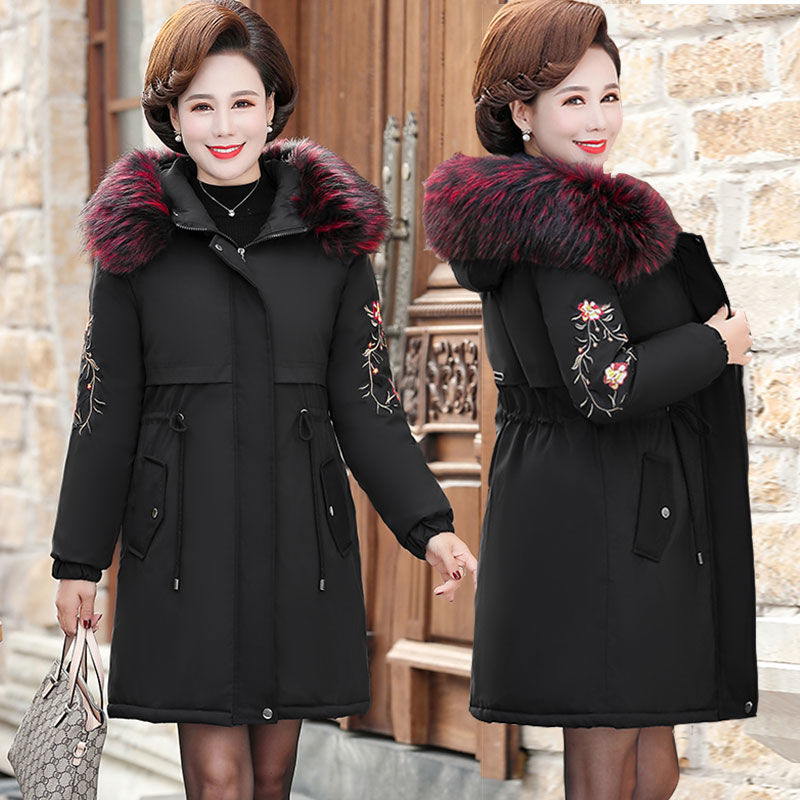 Mothers winter coat thickened down cotton padded jacket middle-aged and elderly cotton padded jacket womens middle-aged long noble middle-aged foreign style cotton padded jacket