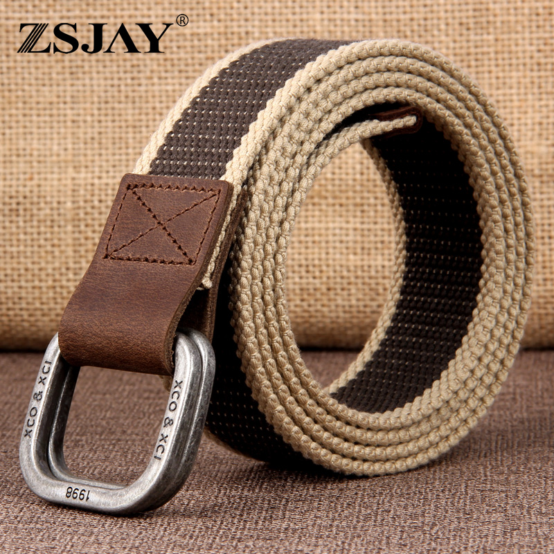 Tactical bird double buckle canvas belt mens belt young students casual leather thickened Jeans Belt mens belt