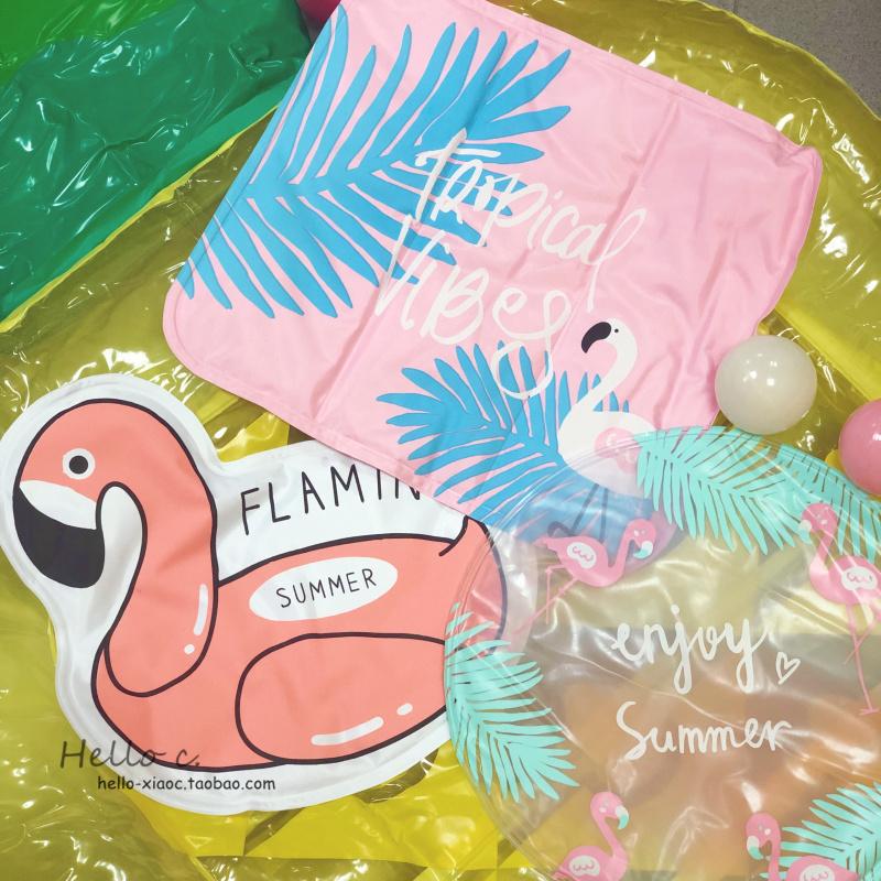 包邮少女心粉色火烈鸟夏季清凉垫子降温冰垫夏天家用学生宿舍坐垫
