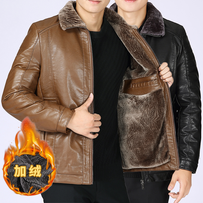 Middle aged mens business fashion flannel collar plush fur coat