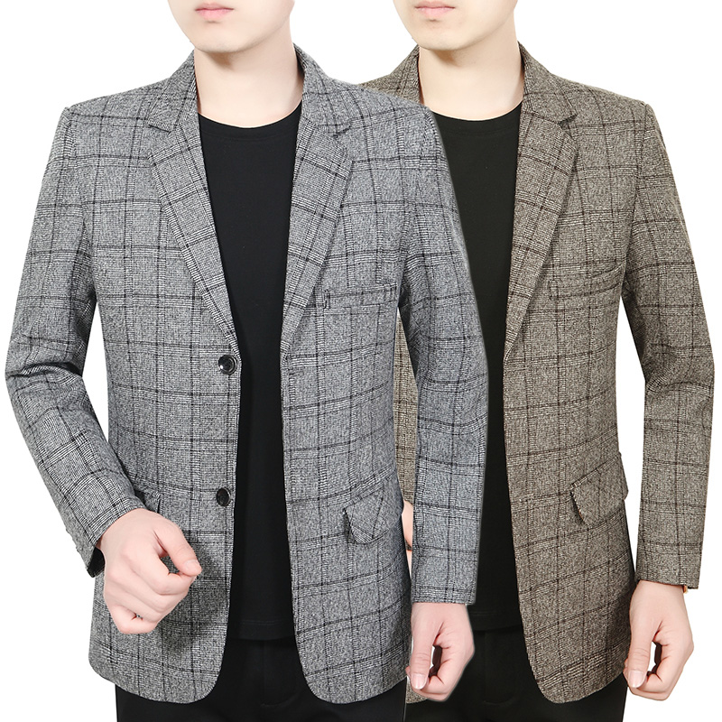 Spring and autumn Plaid Lapel casual suit young and middle-aged mens suit top middle-aged dad single business coat