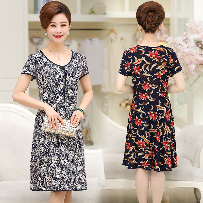 Country mother dress next day short sleeve slightly fat woman with body group 50-60 middle-aged and old people big swing skirt NV