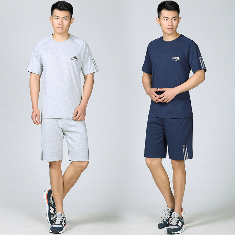 Men in their 40s summer sports suit plus short sleeve outdoor running exercise short sleeve shorts a suit