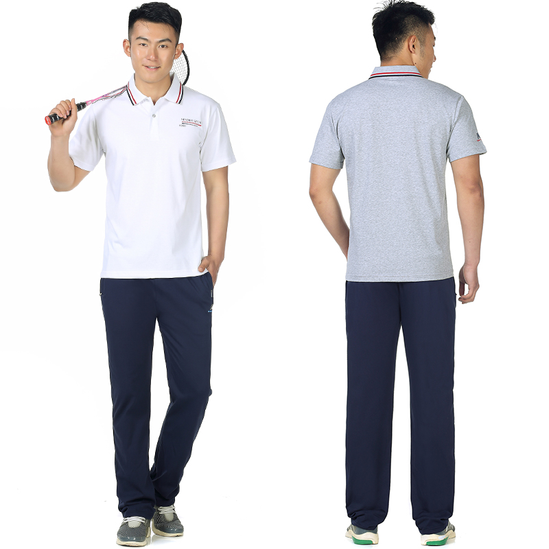 Mens Polo short sleeve T-shirt sportswear suit middle-aged and old dads wide top, elastic pants and fattening