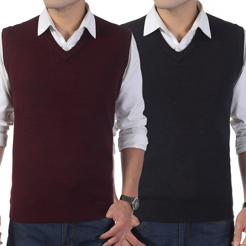 Sweater V-neck Pullover vest mens suit bottoming wool knitwear middle-aged and old dads business leisure wide and fat