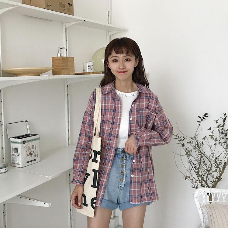实拍新款韩版宽松休闲格子长袖衬衣女