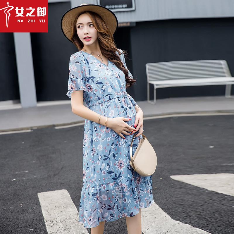 孕妇夏装雪纺2019新款潮妈短袖长裙108.00元包邮