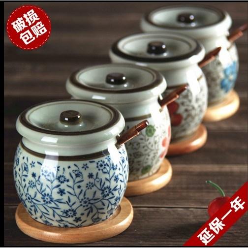 和风四季釉下彩盐罐油罐厨房家用日式调味罐料瓶陶瓷调料盒辣椒罐