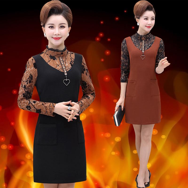 (用59.2元券)妈妈加绒连衣裙秋冬装直筒中年裙子洋气高贵保暖中长款打底衫加厚