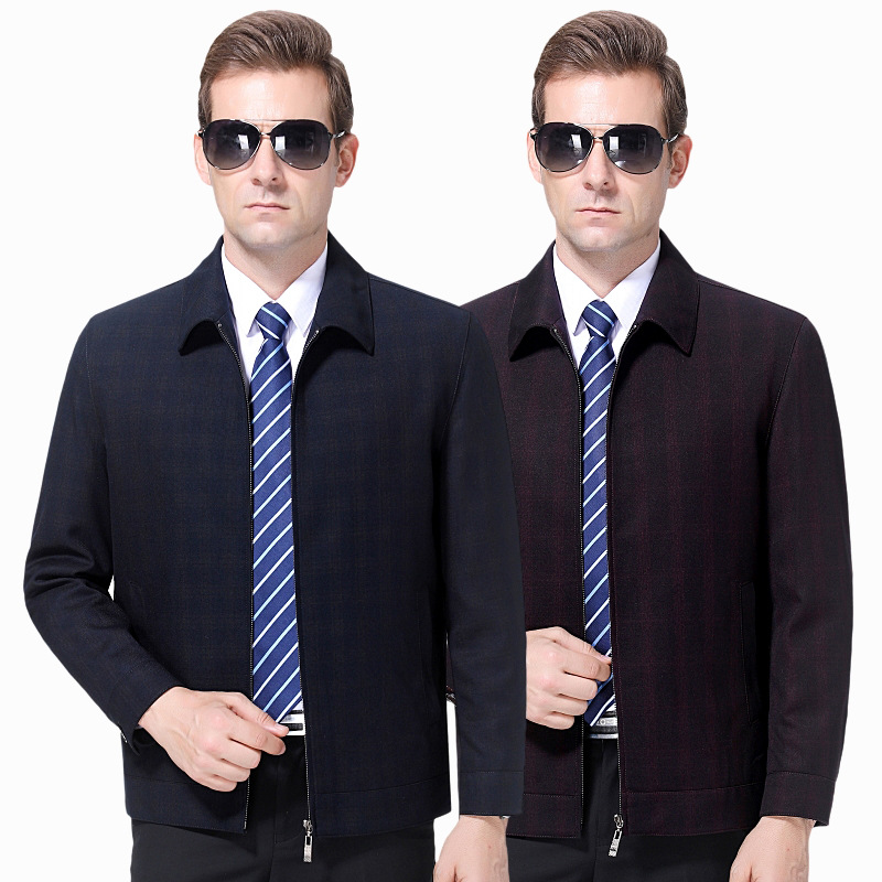 2021 spring and autumn mens jacket middle-aged dads Lapel coat wool business casual jacket top non iron