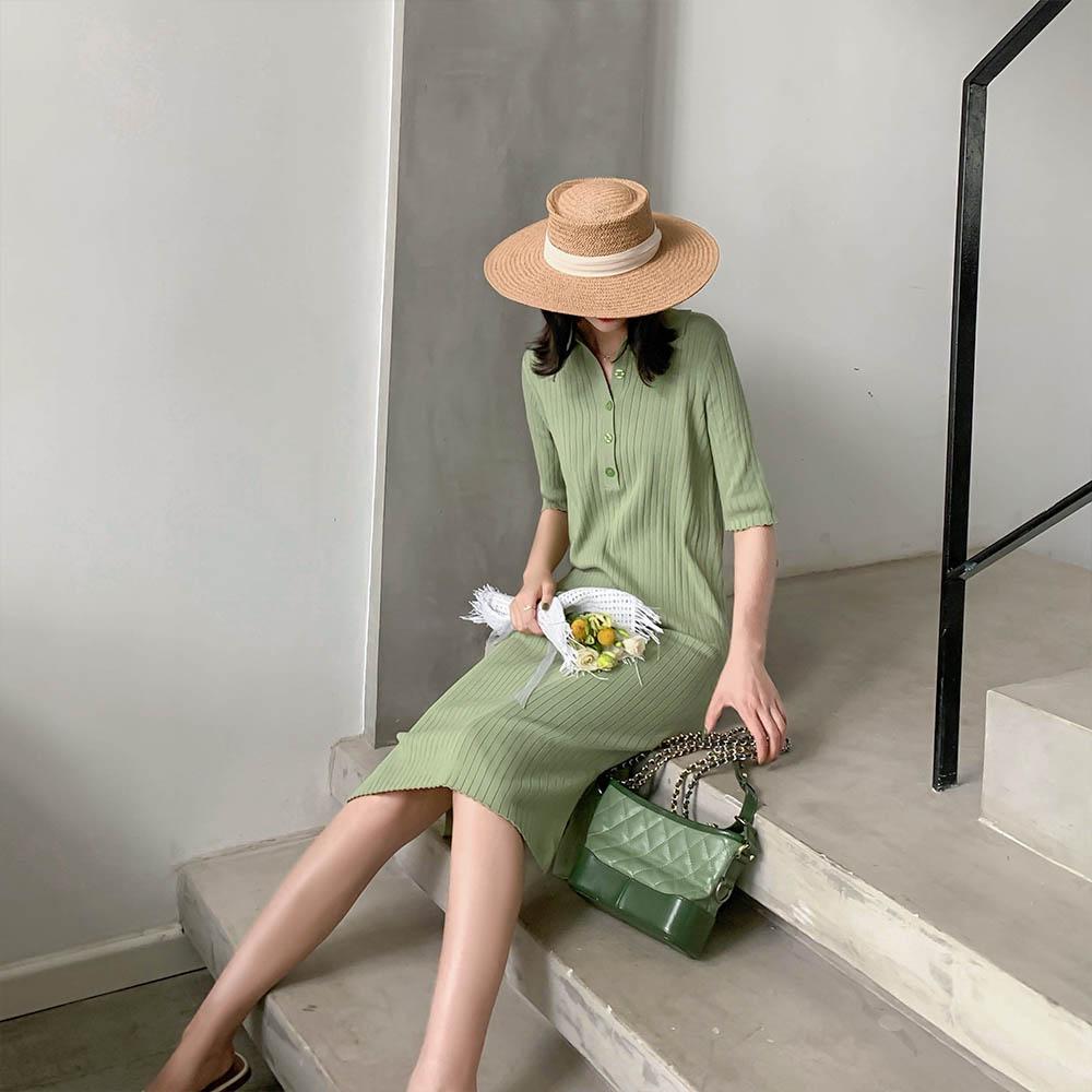 法式复古薄款冰丝针织牛油果绿连衣裙女夏2019新款坑条衬衫裙显瘦11月29日最新优惠