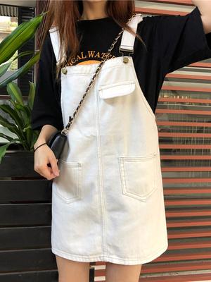 2019夏季新款韩版宽松大码胖mm牛仔背带裙女学生显瘦百搭减龄短裙