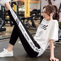 运动套装女潮牌时尚2021年韩版大码短袖长裤两件套宽松休闲新款女