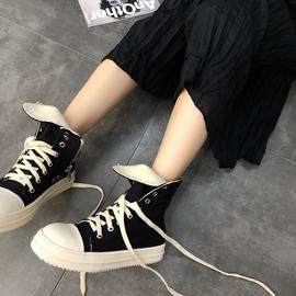 ro高帮鞋女帆布嘻哈2020春秋季马丁靴百搭厚底运动高邦爆款潮鞋子