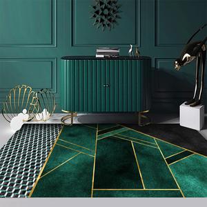 欧式轻奢墨绿客厅地毯 北欧ins网红绿色床边地垫卧室茶几沙发毯