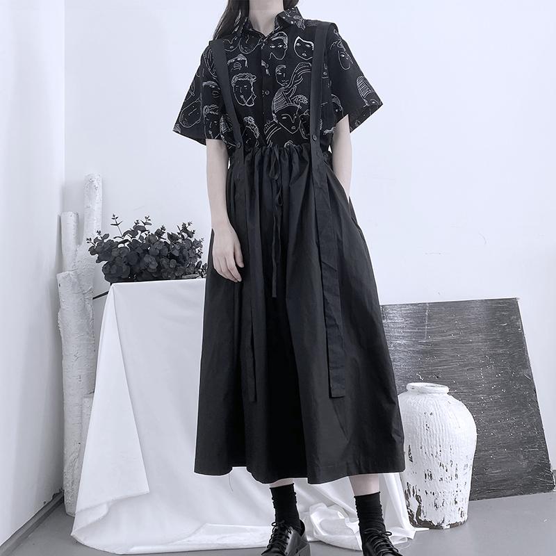 山本暗黑風背帶裙2020夏裝新款百搭顯瘦大裙擺褶皺拼接中長連衣裙