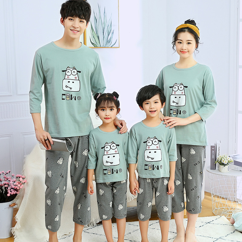 Summer new parents and childrens seven point sleeve shorts two piece cotton childrens pajamas mens and womens short sleeve home wear