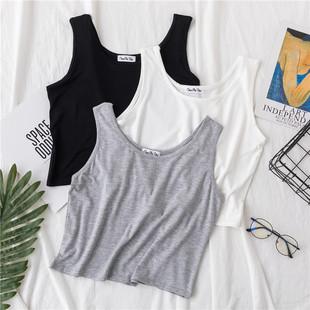 莫代爾短款背心女夏泫雅風寬鬆露臍吊帶衫高腰上衣瑜伽運動小背心