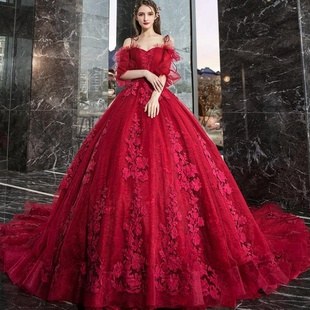紅色婚紗禮服2019新款新娘女森系孕婦遮孕肚小個子大碼一字肩拖尾