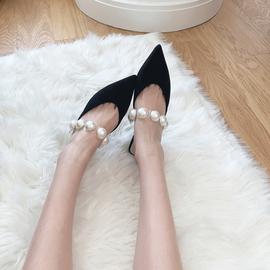水染羊皮,真皮尖头珍珠一字带高跟凉鞋无后跟穆勒拖鞋中跟凉拖鞋